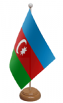 Azerbaijan Desk / Table Flag with wooden stand and base